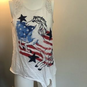 Justice red, white, and blue horse tank top